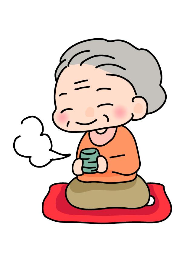 お茶を飲むおばあちゃんのイラスト素材 無料イラスト素材素材ラボ