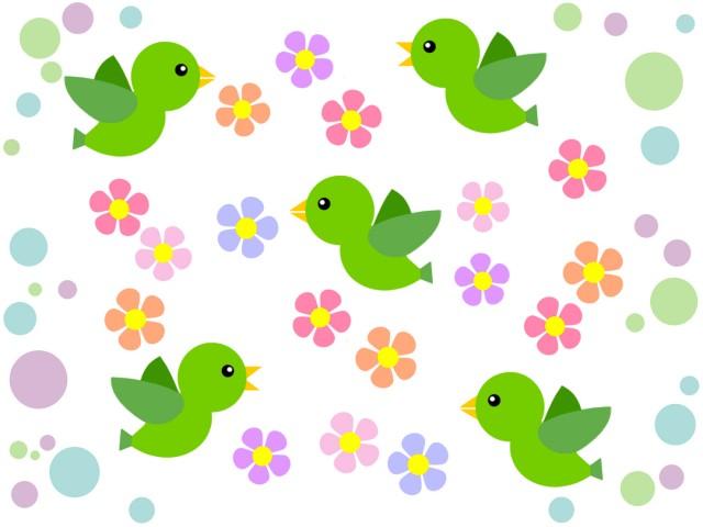 小鳥と花模様の背景イラスト可愛い壁紙素材 無料イラスト素材素材ラボ
