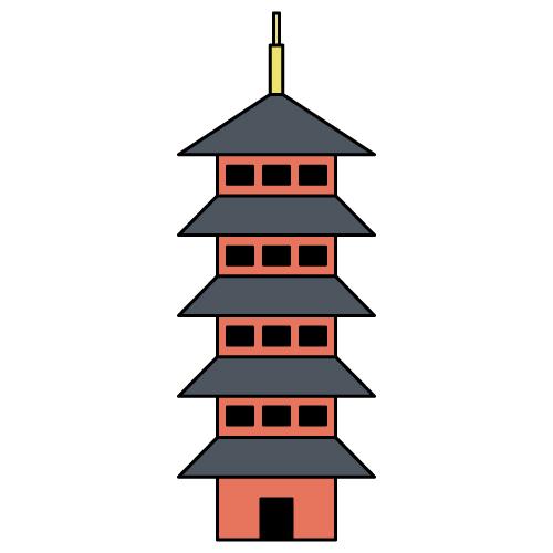 五重の塔アイコン 無料イラスト素材素材ラボ
