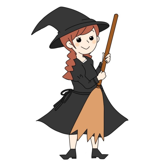 ハロウィン仮装魔女イラスト 無料イラスト素材素材ラボ
