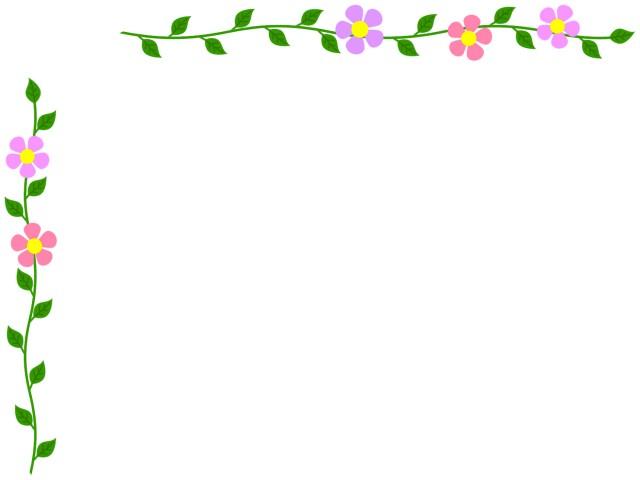 花模様と葉っぱのフレームかわいいシンプルな飾り枠 無料イラスト素材