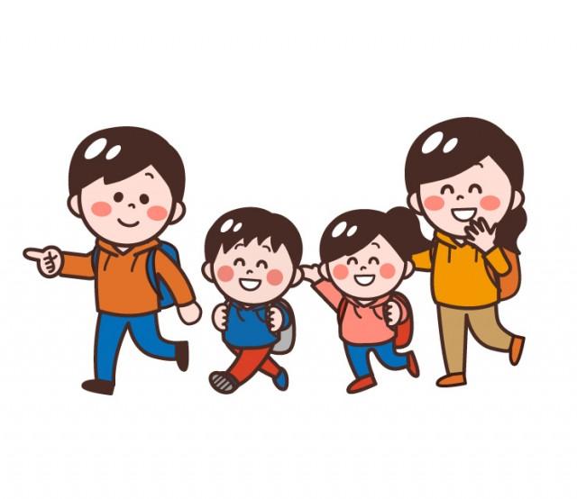 ハイキングする家族父母子供4人家族 無料イラスト素材素材ラボ