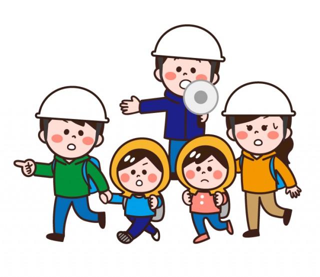 避難誘導する人と避難する家族   無料イラスト素材 素材ラボ