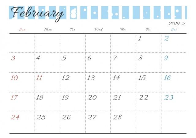 19年カレンダー 季節イラスト入り 2月 雪 無料イラスト素材 素材ラボ