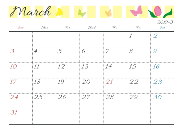 19年カレンダー 季節イラスト入り 3月 蝶々 無料イラスト素材 素材ラボ