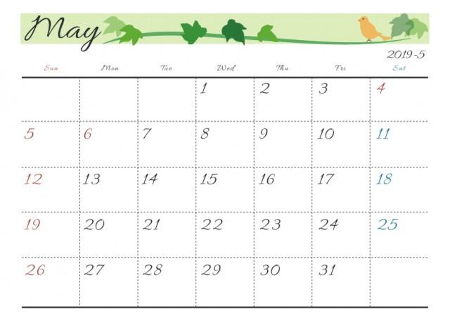19年カレンダー 季節イラスト入り 5月 アイビーと小鳥 無料イラスト素材 素材ラボ