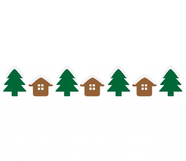 冬の街並み家と木のライン 無料イラスト素材素材ラボ