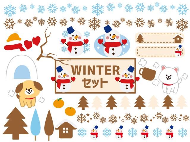 冬らしさが感じられるラインフレームイラストセット 無料イラスト