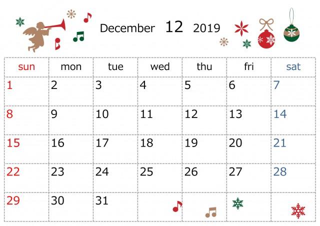 季節のイラストカレンダー 19年 12月 無料イラスト素材 素材ラボ