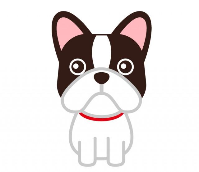 フレンチブルドッグの動物ペットのイラスト 無料イラスト素材