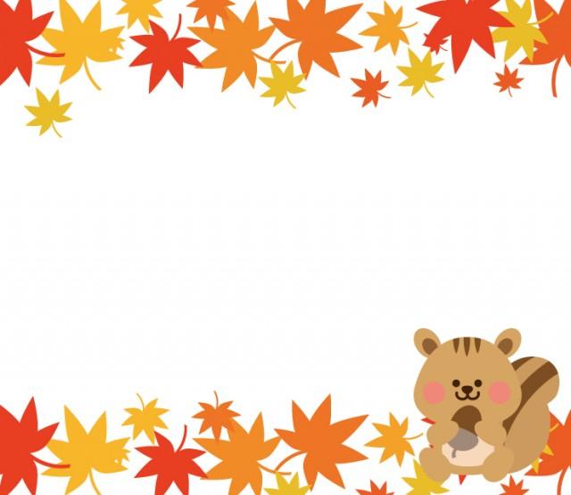 紅葉 上下 とリスの秋フレーム 無料イラスト素材 素材ラボ