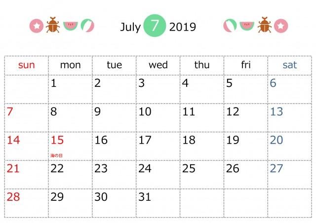 季節のラインカレンダー 2019年 7月