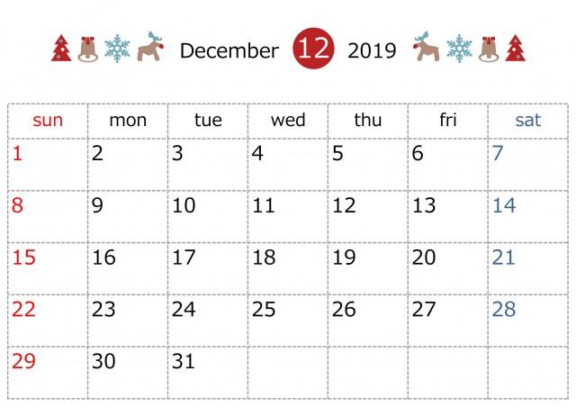 季節のラインカレンダー 19年 12月 無料イラスト素材 素材ラボ