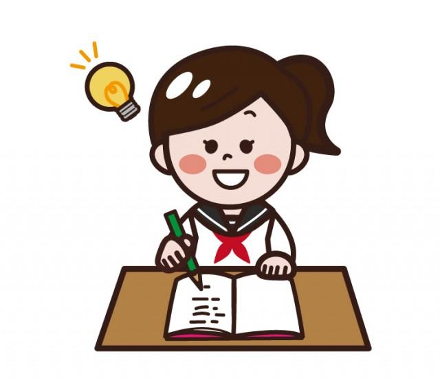机で勉強する女の子女子高生女子中学生 無料イラスト素材素材ラボ