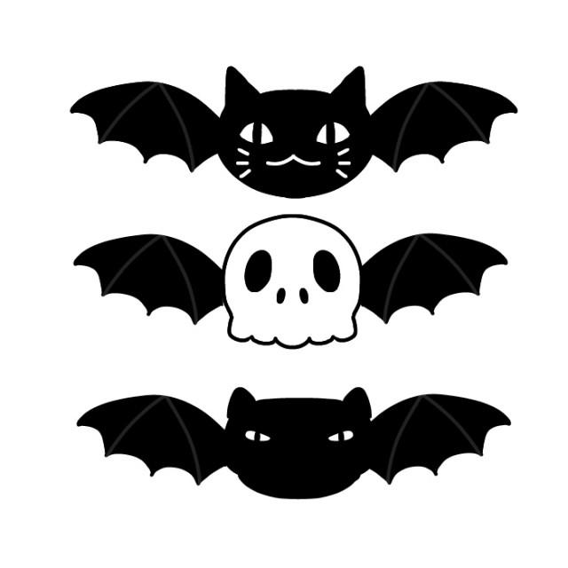 ガイコツやネコやコウモリのイラスト 無料イラスト素材素材ラボ