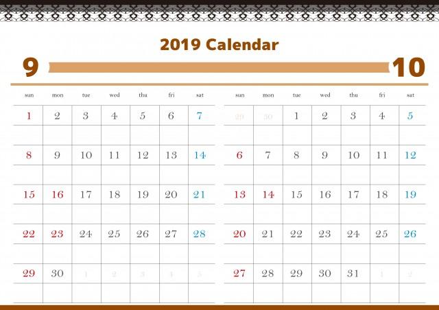 2ヶ月表示 2019年A4カレンダー 9-10月