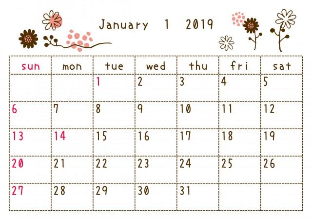 19年1月カレンダー 落書き 無料イラスト素材 素材ラボ