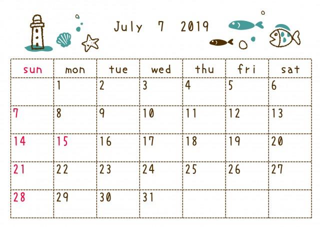 19年7月カレンダー 落書き 無料イラスト素材 素材ラボ