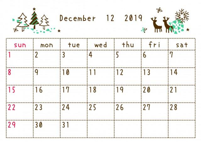 19年12月カレンダー 落書き 無料イラスト素材 素材ラボ
