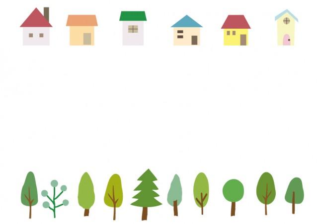 家と木のフレーム 無料イラスト素材素材ラボ