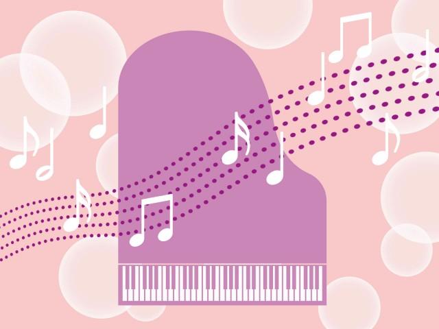 ピアノと音符の壁紙音楽イラスト背景素材 無料イラスト素材素材ラボ