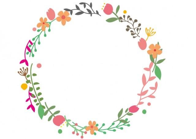 花と葉っぱのリース風イラスト 無料イラスト素材素材ラボ
