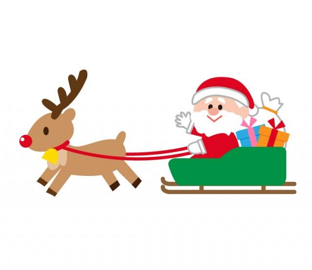 トナカイサンタクロースソリのクリスマスイラスト 無料イラスト