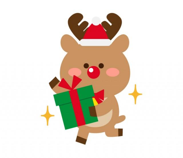 プレゼントを手にするトナカイ サンタ帽 のクリスマスイラスト 無料イラスト素材 素材ラボ