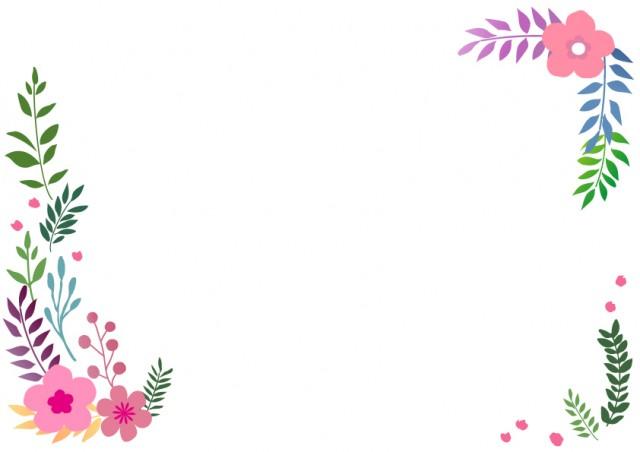 花と葉っぱのフレーム3 無料イラスト素材素材ラボ