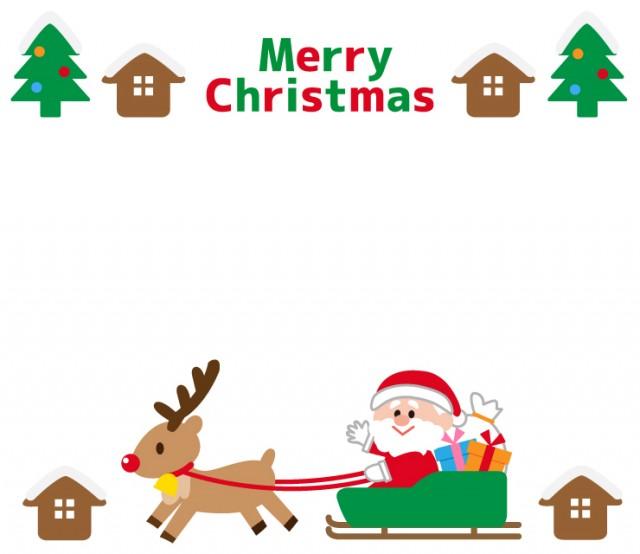 サンタクロースとトナカイ街並みのクリスマスフレーム 無料イラスト