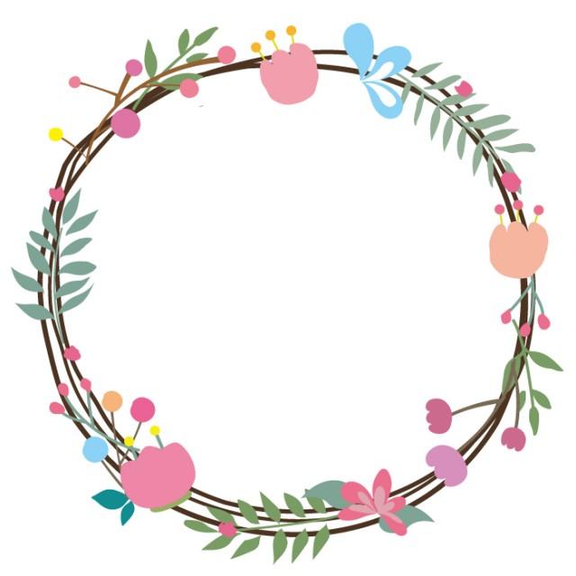 花と葉っぱのリース風イラスト2 無料イラスト素材素材ラボ