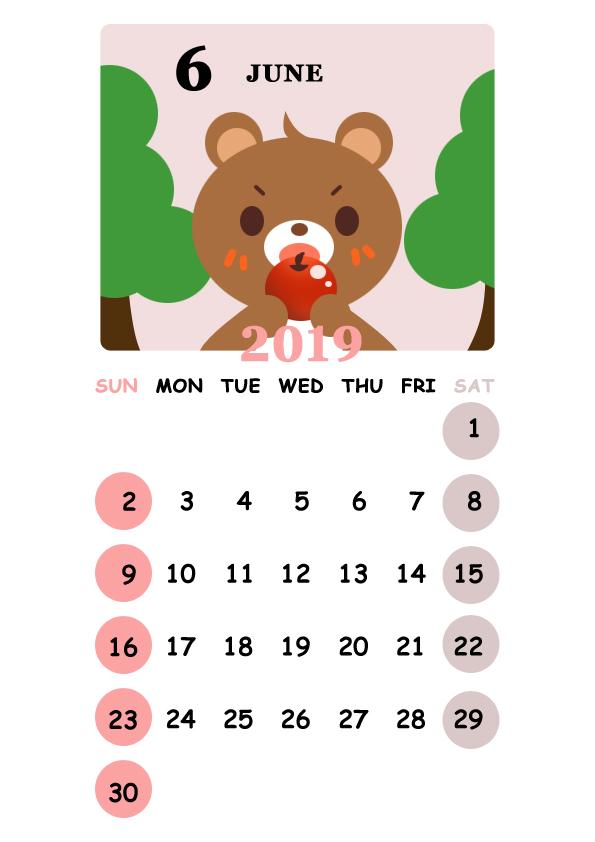 2019年 可愛いクマさんのカレンダー 6月 無料イラスト素材素材ラボ