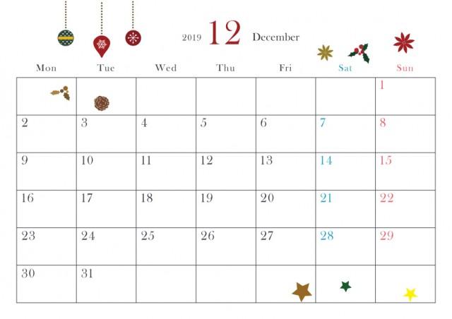 19年カレンダー 小さ目季節イラスト入り 12月 クリスマス 無料イラスト素材 素材ラボ