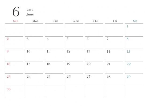 2019年カレンダー シンプル 6月 横型