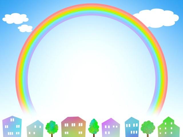 虹の壁紙フレーム風景画の背景素材イラスト 無料イラスト素材素材ラボ