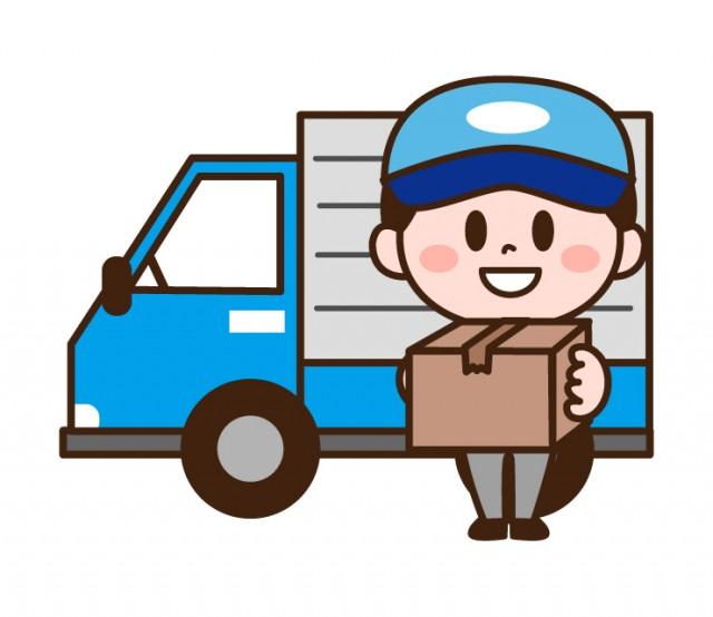 トラックで配達する男性イラスト | 無料イラスト素材|素材ラボ