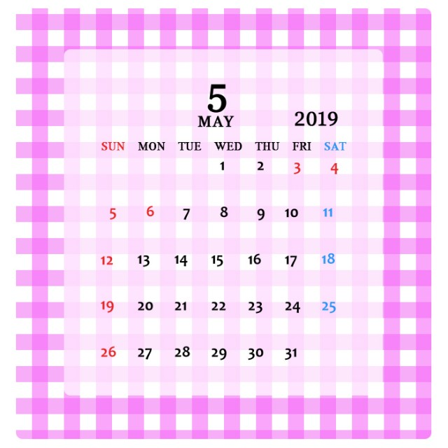 2019年 可愛いチェック柄のカレンダー 5月 無料イラスト素材素材ラボ