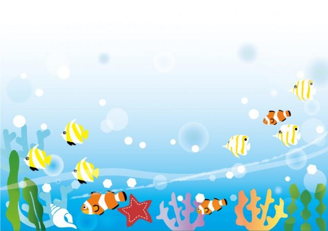 海の中のフレーム2 無料イラスト素材素材ラボ
