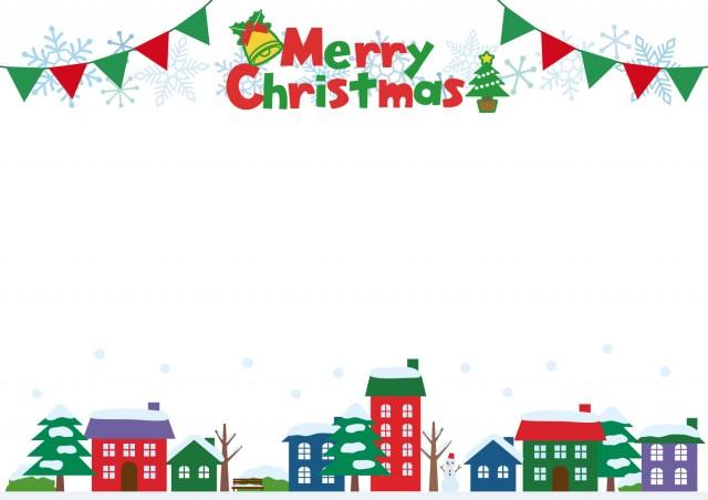クリスマスの街並みフレーム 無料イラスト素材素材ラボ