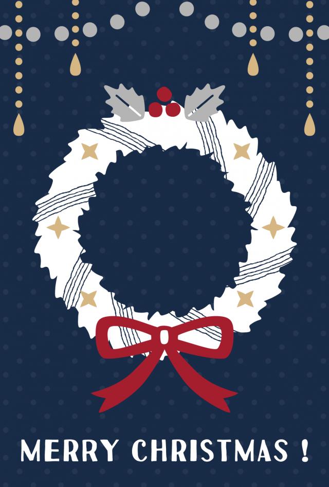 リースのクリスマスカード 無料イラスト素材素材ラボ