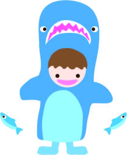 サメの着ぐるみの子供 無料イラスト素材素材ラボ