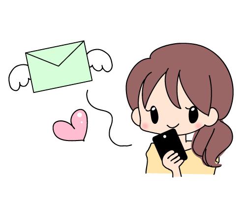 スマホからメールを送る女の子の...