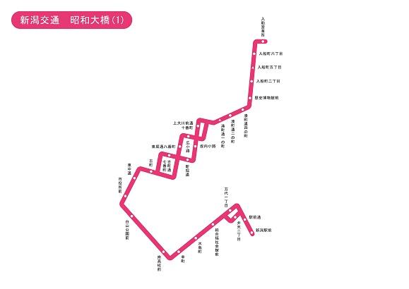 新潟県 新潟交通 昭和大橋1 路線図 無料イラスト素材