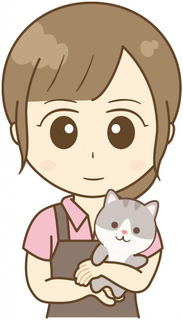 猫を抱っこするペットショップ店員01 無料イラスト素材素材ラボ
