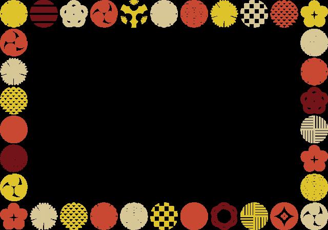 和柄の丸のフレーム 無料イラスト素材素材ラボ