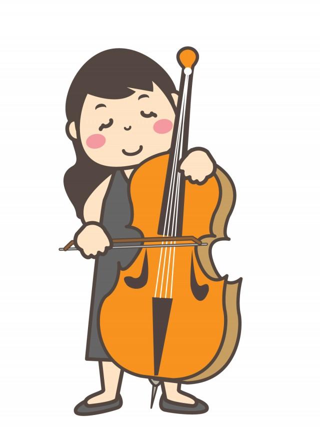 音楽 コントラバスを演奏する女性 無料イラスト素材素材ラボ