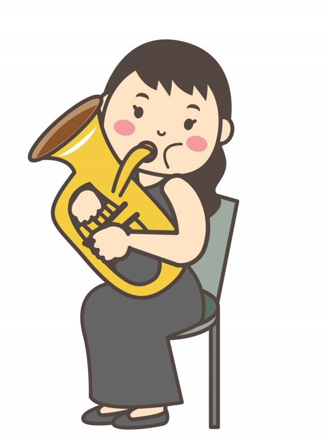 音楽 ユーフォニアムを演奏する女性 無料イラスト素材素材ラボ