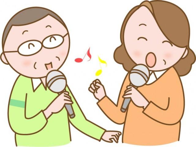 カラオケで歌うシニア男女 無料イラスト素材素材ラボ