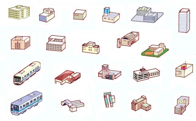イラストマップ用の小さい建物と電車 無料イラスト素材素材ラボ