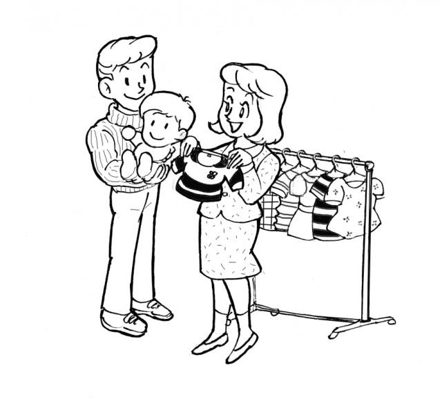 赤ちゃんの服選び 線画 無料イラスト素材素材ラボ